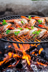 Fresh shrimps with lemon and parsley on hot grill