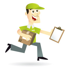 Cartoon Running Delivery Man