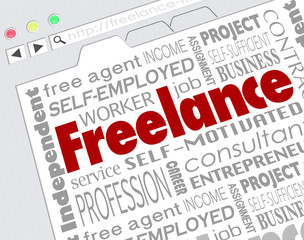 Freelance Indpendent Contractor Website Developer Word Collage