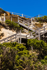 Stairway from cliff to  beach on the great ocean road
