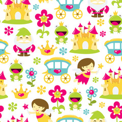 Magical Fairytale Seamless Pattern Background