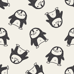 penguin doodle seamless pattern background