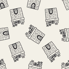 Fireplace doodle seamless pattern background