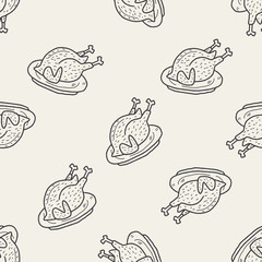 turkey doodle seamless pattern background