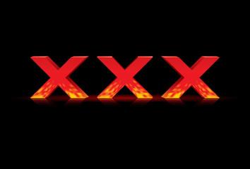 illustration of 3D word xxx, vector