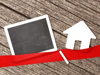 Tafel leer Haus Immobilie Eigenheim Hausbau  Kreide