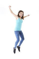Happy woman jumping for joy.