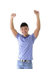 Chinese man celebrating.