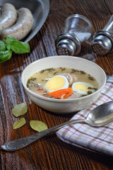 Ryemeal soup with white sausage