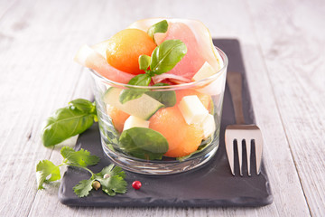 melon salad with prosciutto and cheese