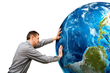 man pushes the planet on a white background. Elements of this i