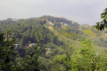 Terraces and buildings near Nagarkot, Nepal