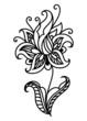 Dainty outline black floral motif