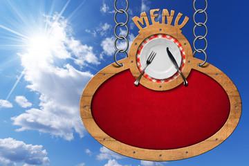 Food Menu - Sign with Metal Chain