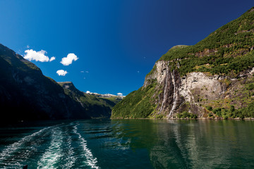 Travelling along Geiranger Fjord in Norway