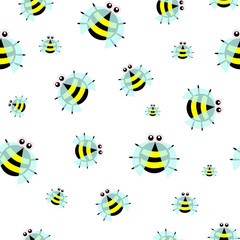Seamless pattern of little cute bee.