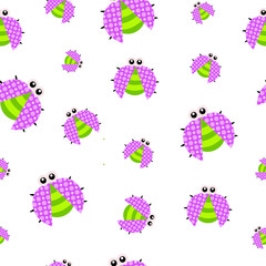 Seamless pattern of little cute dotted bugs.