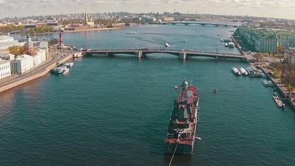 Aerial View Warship Moored in Centre Sankt-Petersburg