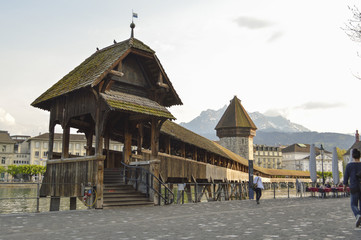 Chapel Bridge Kapellbrucke Lucerne Switzerland and Pilatus