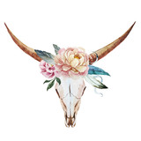 Fototapety Bull skull watercolor