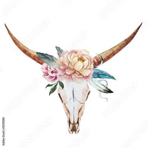 Bull skull watercolor - 83111098