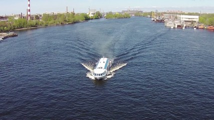 Aerial View to High-Speed Hydrofoil Boat, sunny day