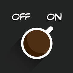 cup of coffee switching on, Vector illustration.