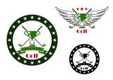 Golf tournament emblems and symbols