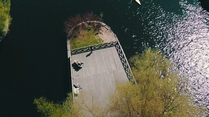 Aerial View of Kayak Floating in Canal, sunny day