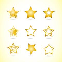 Yellow star logo icon symbol set
