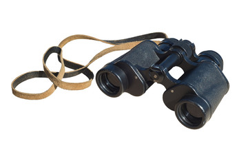 Vintage binoculars on the background of cut