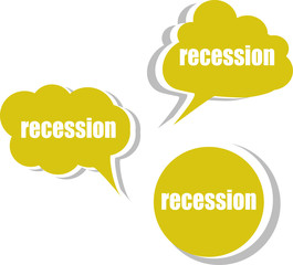 recession. Set of stickers, labels, tags. Template vector