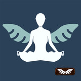 I want to believe. man meditate yoga, angel wings poster