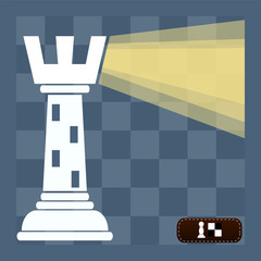 chess rook as a beacon of light on the chessboard