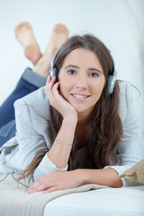 Teenager relaxing with headphones