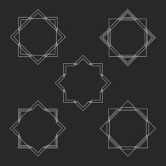 Minimal hipster monogram frames set, mockup letter logo