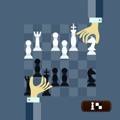concept of chess game strategy with isolated hands holding chess