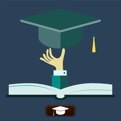 Open book with square academic cap in hand.  icon vector illustr