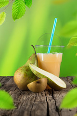 Fresh healthy pear juice