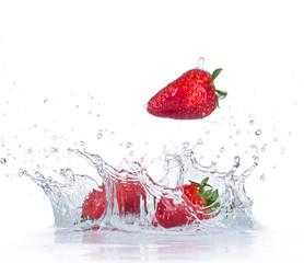 Fresh Strawberries with water splash