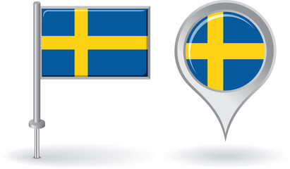 Swedish pin icon and map pointer flag. Vector