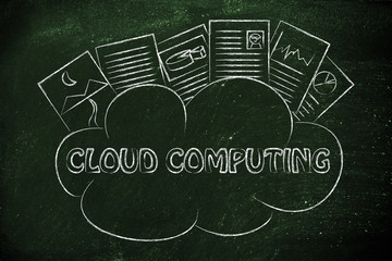 cloud computing, funny documents on top of a cloud