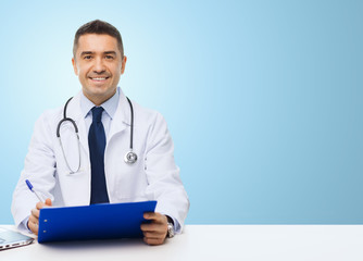 happy doctor with clipboard over blue background