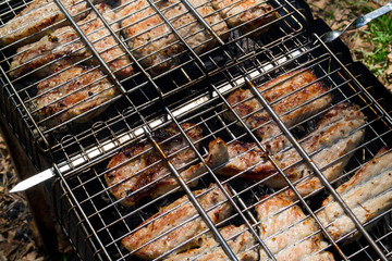 Chunks of pork cooked on the brazier
