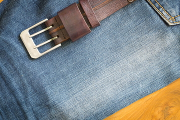 denim jean texture background with leather belt