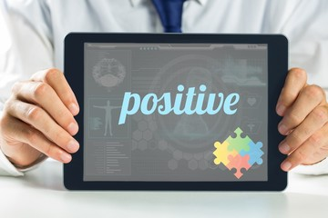 Positive against medical biology interface in blue