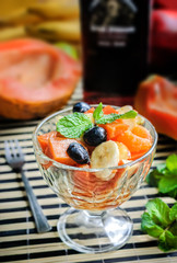 Healthy salad with fresh fruit