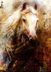 Horse heads, abstract ocre background, with one dollar collage.