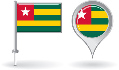 Togolese pin icon and map pointer flag. Vector