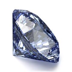 Blue Diamond on White Background. Realistic Vector Illustration